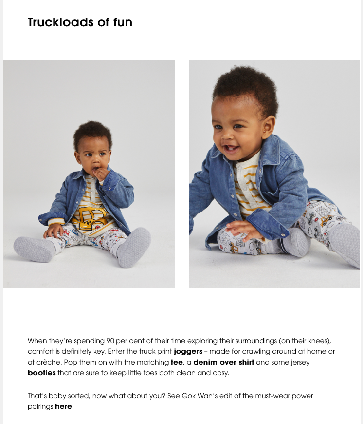 SAINSBURYS TU CLOTHING- BABY MODEL –